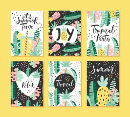 Set of tropical summer cards with lettering. Vector illustration.