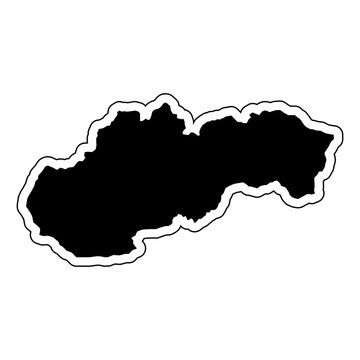Black silhouette of the country Slovakia with the contour line. Effect of stickers, tag and label. Vector illustration