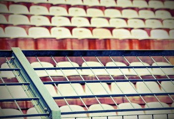 metal mesh in the stadium to divide the fans with old vintage effect