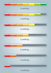 Seven status of colorful download progressive bar for vector graphic design concept