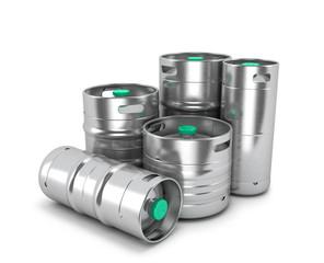 Beer metal kegs on a white background. 3D illustration