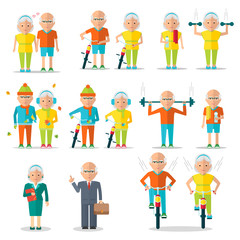 Elderly people, old man and old woman lifestyle. Walking with bikes. Healthy active lifestyle. Sport for grandparents. Objects isolated on a white background. Flat vector illustration.
