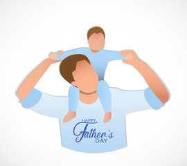 Son on his father shoulders, happy international father's day