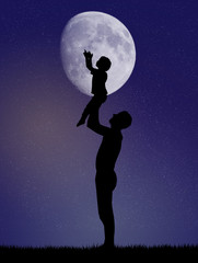child with dad takes the moon