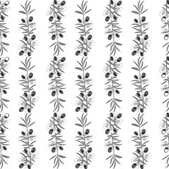 Olive pattern seamless background with olive leaves.