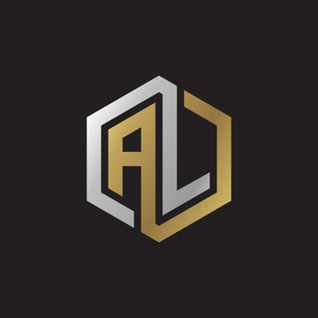Initial letter AL, looping line, hexagon shape logo, silver gold color on black background