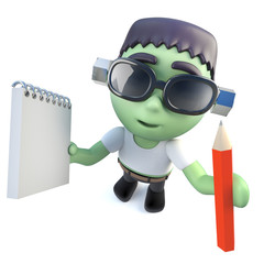 3d Funny cartoon frankenstein monster character holding a pencil and notepad