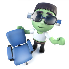 3d Funny cartoon frankenstein monster character with an empty office chair