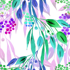 Floral seamless pattern with abstract purple and turquoise leaves and berries watercolor. Hand drawn summer background on white