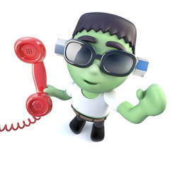 3d Funny cartoon frankenstein monster character answering the phone