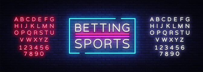 Betting Sports vector. Betting neon sign. Bright night signboard on gambling, betting. Light banner, design element. Editing text neon sign