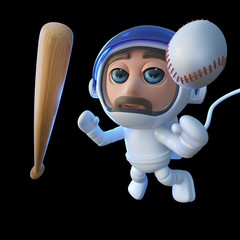 3d Funny cartoon spaceman astronaut character with baseball bat and ball in space