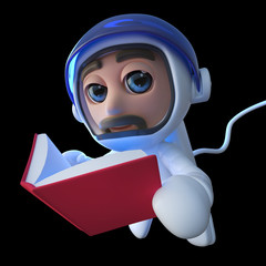 3d Funny cartoon spaceman astronaut character reading a book in space