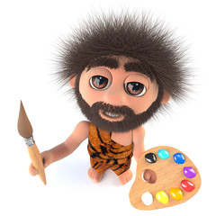 3d Funny cartoon stoneage caveman character painting with a paintbrush and palette