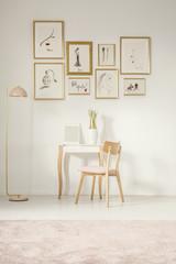 Feminine flat interior with gallery