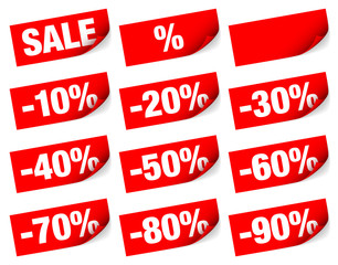 "12 Sticker Tags Set ""Sale"" Minus Red"