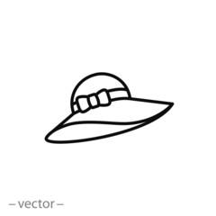 Women summer beach hat icon vector