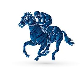 Horse racing ,Jockey riding horse, design using grunge brush graphic vector.