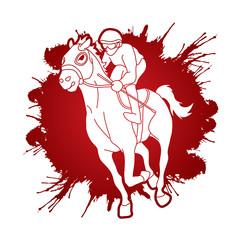 Horse racing ,Jockey riding horse, designed on splatter ink graphic vector.
