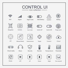 Control UI Icon collection set, joy, arrow, signal, mode, switch user interface button. Flat outline design.