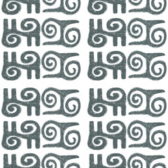 Hand-drawn African traditional patterns, symbols. Seamless vector pattern on white background.