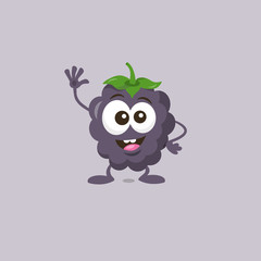 Illustration of cute happy dewberry mascot greeting someone with big smile isolated on light background. Flat design style for your mascot branding.