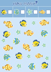 Counting children's educational games, children's sheet. How many objects task, marine life, sea theme. vector illustration.