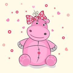 Funny illustration of a hippopotamus, vector illustration.