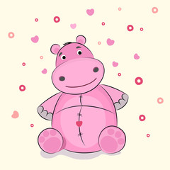 Funny illustration of a hippopotamus, vector illustration.