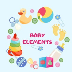 Set of beautiful baby icons, vector illustration. Isolated elements.