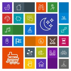 Modern, simple, colorful vector icon set with white, hour, star, blue, moon, electrical, insulating, boat, call, lock, hourglass, castle, sky, landscape, night, elegance, fashion, sound, ship,  icons