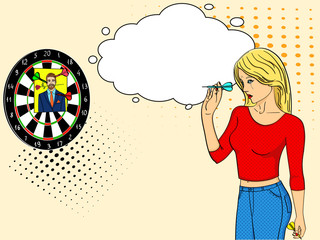 Pop art girl cries and plays in a wall mounted shooting gallery. Dart in a photo of a man. Imitation comic style. text bubble
