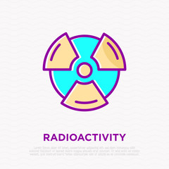 Symbol of radioactivity thin line icon. Modern vector illustration.