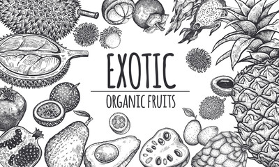 Poster with exotic fruits.