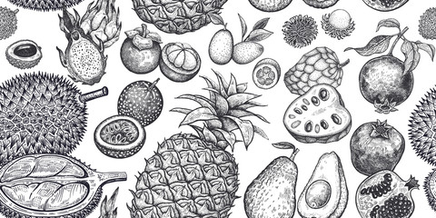 Seamless background with exotic fruits.