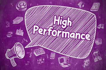 High Performance - Doodle Illustration on Purple Chalkboard.