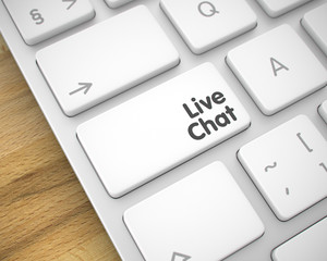 Live Chat - Text on the White Keyboard Keypad. 3D.