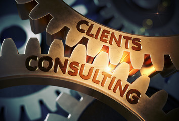 Clients Consulting on Golden Gears. 3D Illustration.