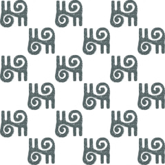 Hand-drawn traditional African symbol. A symbol of bravery and valor, located in a staggered order. Seamless vector pattern on white background.