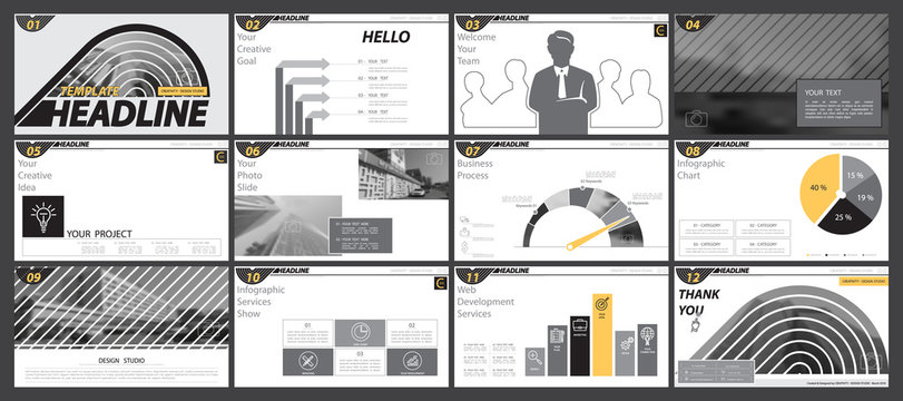 Black and white, yellow, presentation template, white background. Creative Set of Infographic Elements.Presentation,leaflet and flyer,corporate report,marketing,phone, advertising,annual report,vector