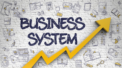 Business System Drawn on White Brickwall. 3d