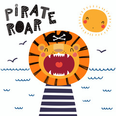 Poster Illustrations Hand drawn vector illustration of a cute funny lion pirate in a tricorn hat, with lettering quote Pirate roar. Isolated objects. Scandinavian style flat design. Concept for children print.
