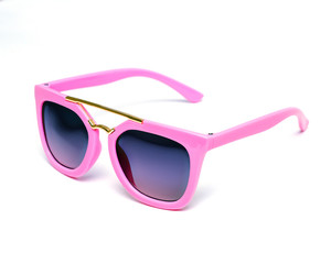 baby pink sunglasses on white background, isolate, summer, sun, leisure, design