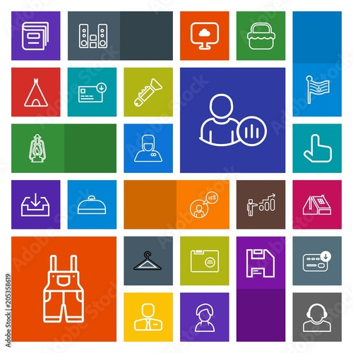 modern simple colorful vector icon set with paper work business