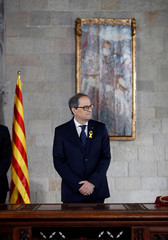 Quim Torra takes his oath as new Catalan Regional President during a ceremony at Generalitat Palace in Barcelona