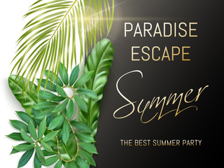 Summer party typography with exotic leaves