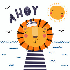 Hand drawn vector illustration of a cute funny lion sailor in a cap and striped shirt, with lettering quote Ahoy. Isolated objects. Scandinavian style flat design. Concept for children print.
