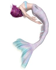 Pretty Pink and Blue Mermaid Swimming Upside Down - fantasy illustration