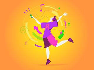 Un ragazzo balla al ritmo della musica del suo smartphone