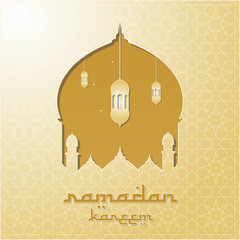 Ramadan Kareem Vector Illustration. Elegant Ramadan Greeting with Mosque Dome Design and Classic Ornament. Paper Art and Digital Craft Style
